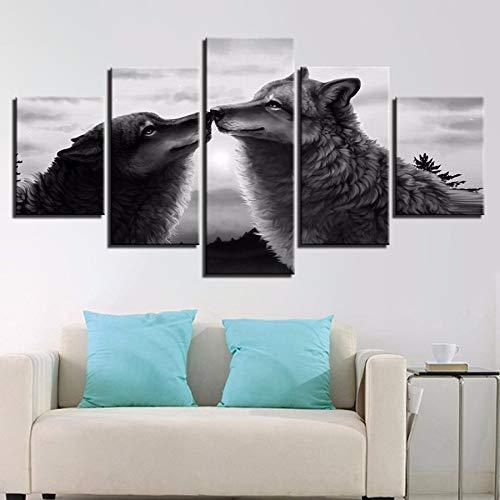 xzfddn Leinwand HD Drucke Gemälde Wohnzimmer Wandkunst 5 Stücke Schwarze Wölfe Kuss Bilder Tier Abstrakte Poster Wohnkultur