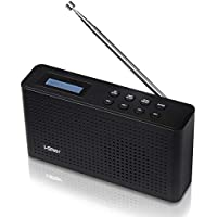 DAB & DAB+ Digital and FM Radio by i-Star, Portable and Rechargeable Wireless Personal Radio with Stereo Speaker Sound System - Mains Powered USB Charging with Battery - Retro Kitchen Radio (Black)
