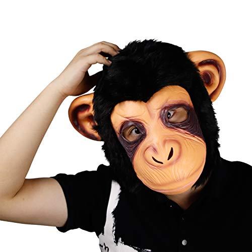 Affe Maske, Halloween Kostüm Party Latex Tier Gorilla Kopf Maske für Erwachsene