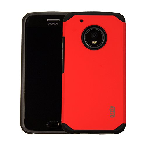 Funda para Moto G5 de Orzly® - Funda Duo-Armour para Motorola Moto G5 (Modelo 2017 - Pantalla Pequeña de 5.0 pulgadas) - Carcasa duradera y ligera con Doble Capa para mayor agarre y protección - ROJO