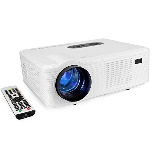 Joyhero 3D HD Vidéoprojecteur HD LED 3000 Lumens Couleur Luminosité Projecteur Home Cinéma Grande Résolution 1280x800 HDMI VGA/ USB/ AV /Digital TV/1080P-blanc
