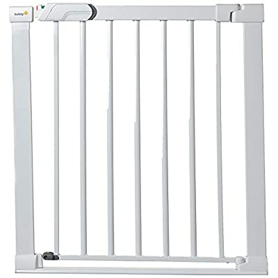 Safety 1st SecureTech Flat Step Practical Safety Metal Gate with Thin Step Over Bar, Ideal for Kids and Pets, 73 to 80 cm, White  MMDP