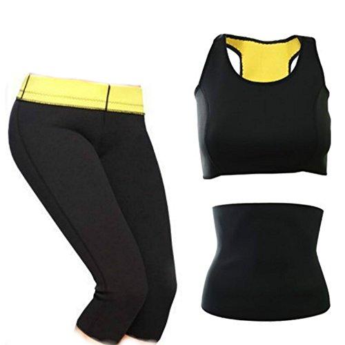 CUTEHILL- Conjunto Shaper de sudoración intensiva Pantalones + Cinturón Abdominal + Top Deportivo de mujer de Neopreno para adelgazar (XL)