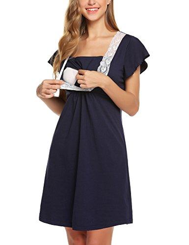 Lomon Still-Nachthemd für Schwangere Nachthemd-Nachtwäsche Zum Stillen, Navy Blau-stil 1, XL