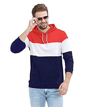 LEWEL Men's Stylish Full Sleeve Red, White, Navy Hooded T-Shirt (100% Cotton, Bio-Washed)