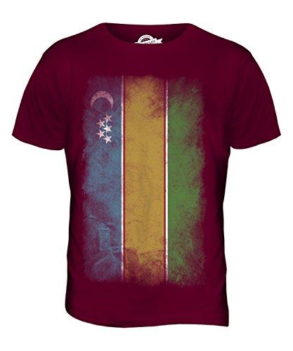 CandyMix Karakalpakistan Verblichen Flagge Herren T Shirt Burgunderrot