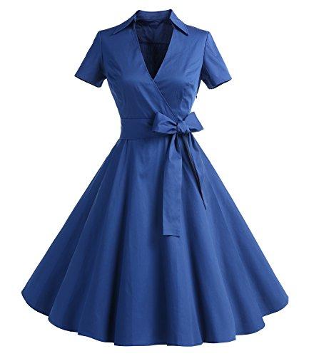 Timormode Robe Années 50's Audrey Hepburn Rockabilly Swing,Plissé Robe à Manches Courtes 10084Blue S