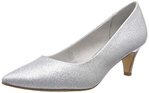 Tamaris Damen 1-1-22455-22 919 Pumps, Silber (Silver Glam 919), 39 EU