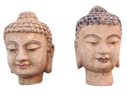 Chine 1950 2 x femmes tête portrait sculpture sculpture paulownia deux à choisir