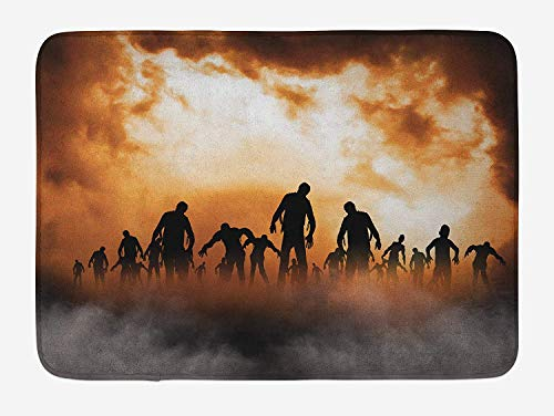 FAFANIQ Halloween Bath Mat, Zombies Dead Men Walking Body in The Doom Mist at Night Sky Haunted Theme Print, Plush Bathroom Decor Mat with Non Slip Backing, 23.6 W X 15.7 W Inches, Orange Black