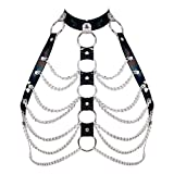 PETMHS Womens Leather Harness Bra Body Caged Tops Waist Hollow Out Lingerie Belts Dance Rave Costume Adjust Size Punk Goth Harnesses (Black 265)