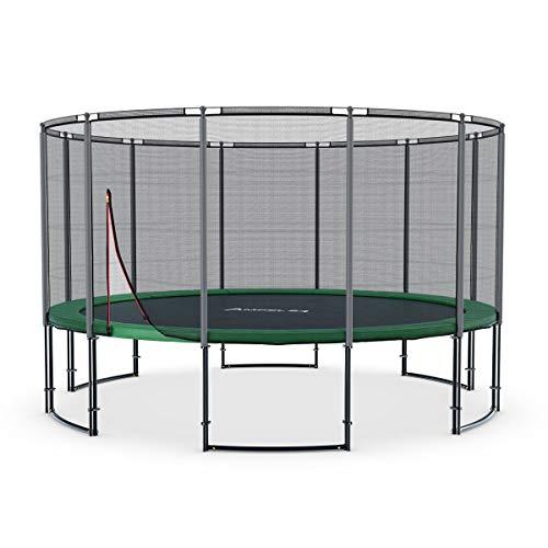 Ampel 24 - tappeto elastico deluxe completo con rete di sicurezza, telo da salto / 4,30m di diametro/resistente fino a 160 kg / 12 pali imbottiti