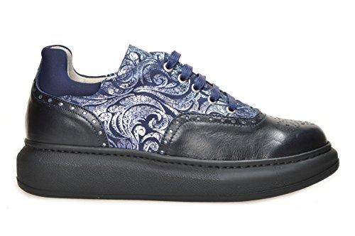 Sneaker Gianluca Antano art. Monica Laccio. Versione Nevada Blu - Courmayeur Blu Nr. 38. Calzature confort da donna in pelle Made in Italy. Calzaturificio Faber
