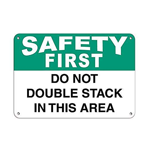 CDecor Safety First Do Not Double Stack in This Area Blechschilder, Metall Poster, Retro Warnschild Schilder Blech Blechschild Malerei Wanddekoration Bar Geschäft Cafe Garage -