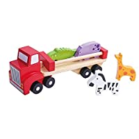 Tooky Toys Wooden Truck Toy, Carrier with Trailer, Wooden Vehicle Set for Toddler with Animal Shape Figures in, Classical Pull Transport Set