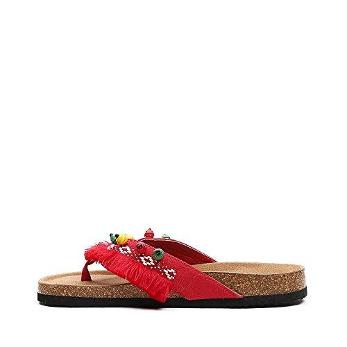 Ideal Shoes Nu-Pieds à Franges Adixia Rouge