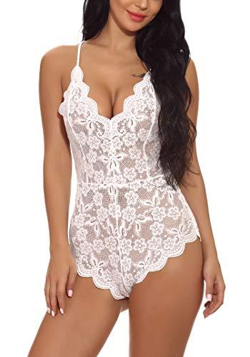 Shekini donna lingerie body smanicato in pizzo, babydoll in pizzo di spalline regolabili, donna sexy camicie da notte in un pezzo esotico di pizzo floreale(m, bianco)