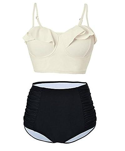 Aidonger Damen Bikini Sets mit Rüschen Volant Süß Push Up Bademode Gr.XS-2XL