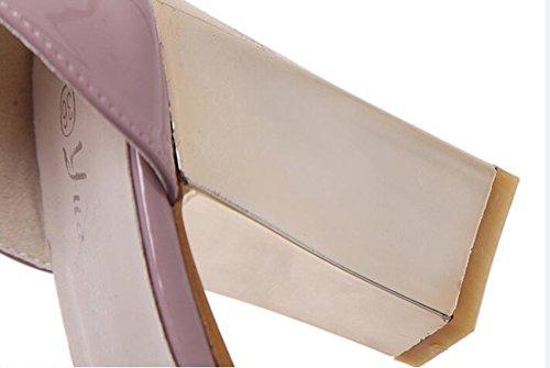 Aisun Damen Asakuchi Quadratisch Offene Blockabsatz Schnalle Sandale Violett