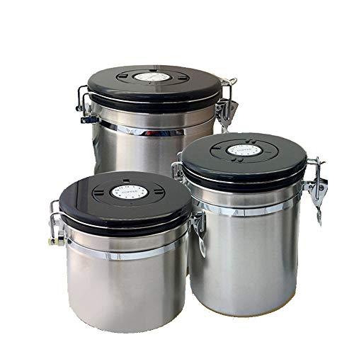 Edelstahl Kaffee Bean Kanister, Lagerung mit Datum-Aufzeichnung Lebensmittelaufbewahrungsbehälter Seal Jar Küchenkanister für Tee, Kaffee, Snacks, Spice