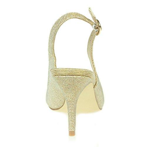 Femmes Dames Briller PeepToe Soir Mariage Fête De mariée Décontractée Bal de promo Talon haut sandales Chaussures Taille Or