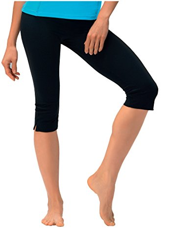 Damen Caprihose Jogginghose ideale Fitnesshose und Freizeithose von Gwinner, Model Gabi, 3/4 lang schwarz-M
