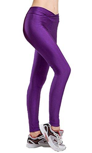 Smile YKK Legging Gainant Femme Pantalon Grande Taille Haute Collant Amincissant Yoga Sport Violet