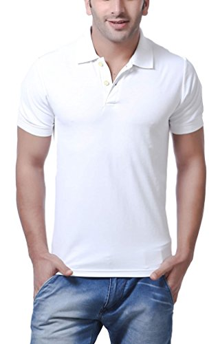AMERICAN CREW Polo Collar White T-Shirt - XL (AC027-XL)