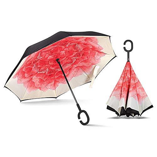 Umkehrbarer Regenschirm, doppelschichtig, umgekehrter Regenschirm, selbststehend, C-förmiger Haken für freie Hände, umgekehrt, zusammenklappbar für Autofahrer und Beifahrer -