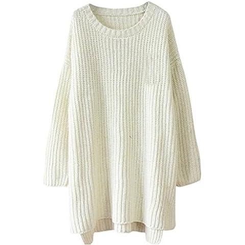 FEITONG De las mujeres manga del batwing Suelto Tejer Largo Pull-over Suéter