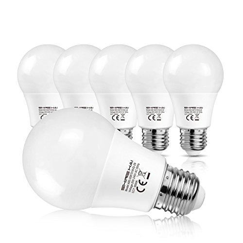 SHINE HAI Lampadine LED E27 8W Pari a Lampada 60W, Luce Bianco freddo 6500k,Confezione da 6