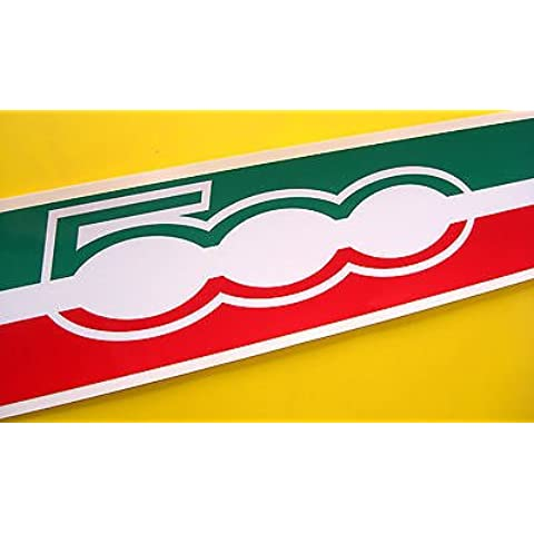 FIAT 500 Bandera Italiana Techo Rallas con '500 LOGO' estilo Etiqueta Adhesiva