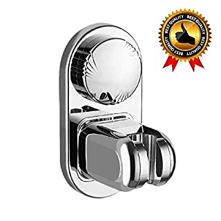 LEEFE Super Power Vacuum Suction Cup Shower Head Holder, Adhesive Hand Held Showerhead Bracket with 5 Mode Angle Adjustable - Wall Mounted (Silver)