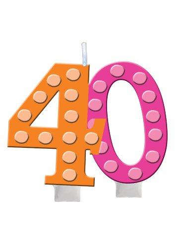 Creative Converting hell und Bold zum 40. Geburtstag geformt Ziffer Kuchen Kerze