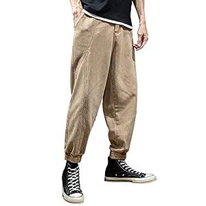 serliy😛Herren Elastische Taille Gürtel Baumwolle Jogging Sweat Hosen Plus Size Mode Lange Sports Cargo Hosen Shorts mit…