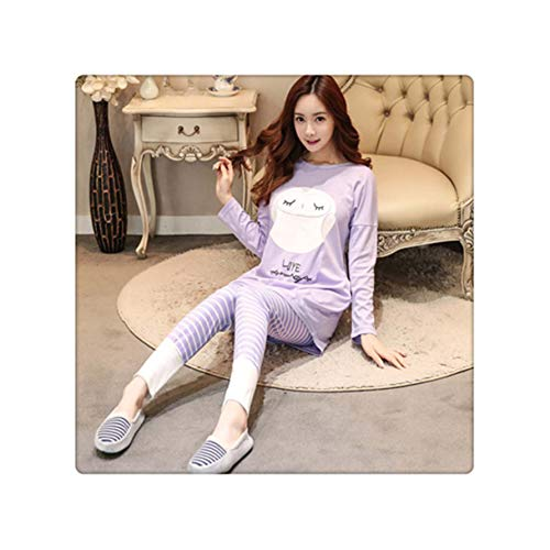 ASILAX& Autumn Women Pajamas Sets Casual Homewear Long Sleeve Thick Print nigtgown pink Cute Sleepwear Suit Young Girl Pyjamas GUI maotouying zise S (S Victoria Secret-models Halloween)