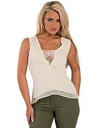 Women's Ladies Lace Insert Glam Sleeveless Dipped Hem Blouse Top