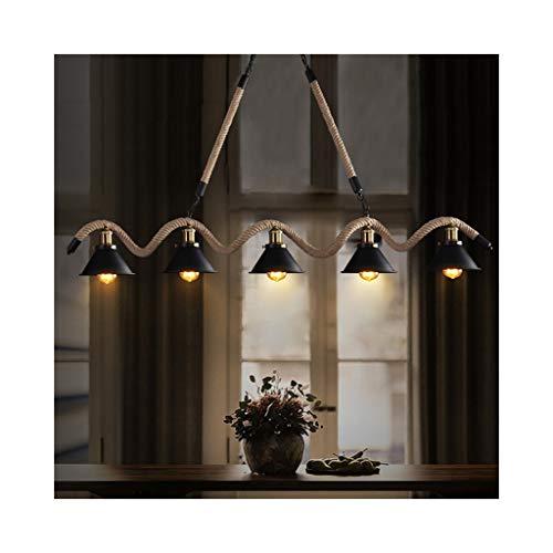 Billard-licht (Chandelier-WXP Industrielle Wind Kronleuchter Bar amerikanische Lampe Hotel Bekleidungsgeschäft Kronleuchter Net Cafe Billard Zimmer Hanfseil Kronleuchter 624-DD (Size : 132cm))