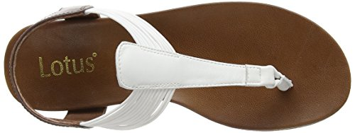 Lotus Corfu, Sandales Femme Blanc (White Leather/Elastic)