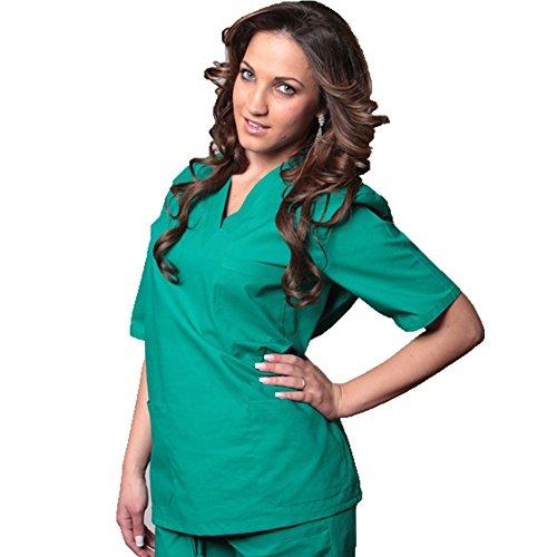 Completo divisa da infermiere Verde Royal ospedaliero cotone mezze maniche (S, VERDE)
