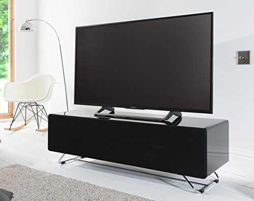 Alphason CRO2-1200CPT-BK Chromium Concept Black TV Stand with Speaker Mesh Front Best Price and Cheapest