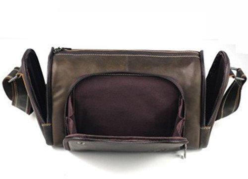 ELASZ Vintage Schultertasche für Männer Echtes Leder Casual Aktentasche Messenger Bag Gelb-B01
