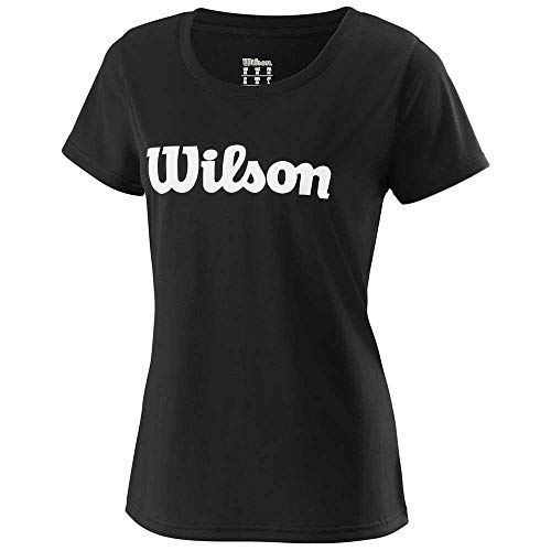 WILSON Damen W UWII Script TECH Tee, Black/White, MD