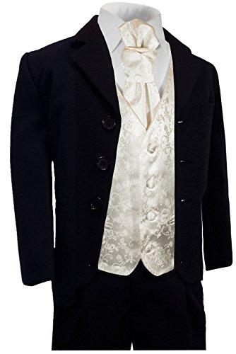 Paul Malone - Jungen Anzug für Kinder festlicher Kinderanzug blau (tailliert) + Ivory Hochzeit Weste mit Plastron 8