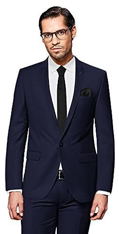 PABLO CASSINI Herren Anzug Fine Art - 3 teilig - Marineblau Blau Smoking Ein-Knopf Hochzeit Business PCS_3 (48)