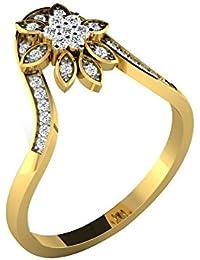 Silvernshine 0.27 Cts Round Cut Sim Diamond Marquise Shape Flower Ring In 14KT White Gold PL