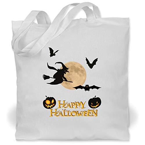 Magierin Kostüm Weiße - Shirtracer Halloween - Happy Halloween Mond Hexe - Unisize - Weiß - WM101 - Stoffbeutel aus Baumwolle Jutebeutel lange Henkel