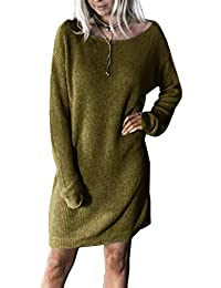 08a1d35960df Yidarton Pull Robe Femme Hiver Large Manche Longue Casual Mini Robes