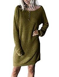 b695ecf3ba3b5 Yidarton Pull Robe Femme Hiver Large Manche Longue Casual Mini Robes