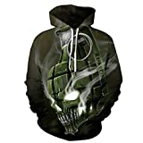 Memoryee Unisex 3D Totenkopf Druck Hoodie Kapuzenpullover Langarm Sweatshirt Kapuzenjacke mit Taschen S-3XL Stil 1 S/M